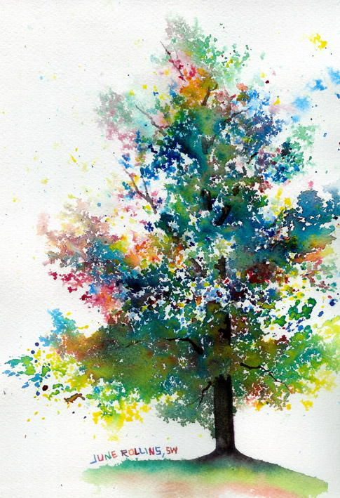 The triad tree june rollins art for Simple watercolor paintings for kids