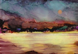 Dreamscape No. 395, 5x7, AI on Yupo Dreamscaping With June Rollins®