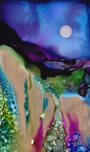Dreamscape No. 496, 3x5, Yupo Dreamscaping With June Rollins®
