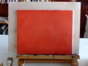 Orange Ground On Textured Gesso Canvas Panel ©June Rollins :)