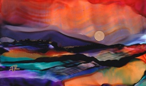Dreamscape No. 510,  3x5, Alcohol Inks, Yupo Dreamscaping With June Rollins®