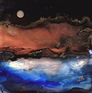 Dreamscape No. 515, 5x5, Alcohol Inks, Yupo Dreamscaping With June Rollins®