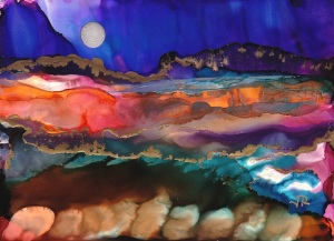 Dreamscape No. 508, 5x7, Alcohol Inks, Yupo Dreamscaping with June Rollins®