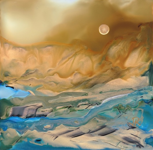 Dreamscape No. 533, 4x4, Alcohol Inks, Glass Tile Dreamscaping With June Rollins®