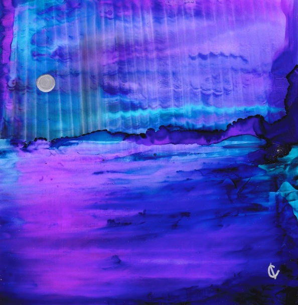 Moonlight Mysteries, 4x4, Alcohol Inks, Yupo © Izzy Carter