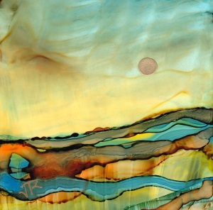 Dreamscape No. 195, 4x4 Alcohol Inks On Yupo Dreamscaping With June Rollins®