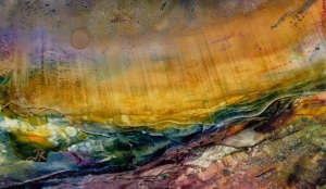 Dreamscape No. 564, 3x5, Yupo Alcohol Inks W Acrylic Glazing Liquid Dreamscaping With June Rollins®