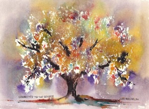 Connected To The Source 7x10, Watercolor Dreamscaping With June Rollins®