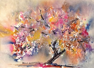 """Hello, Gorgeous!"" Watercolor, 7x10 Dreamscaping With June Rollins®"
